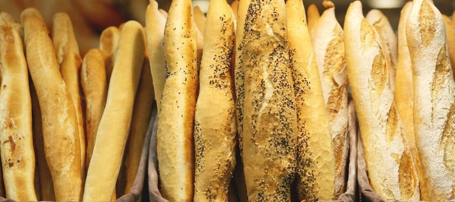 Multiple freshly baked baguettes in a row