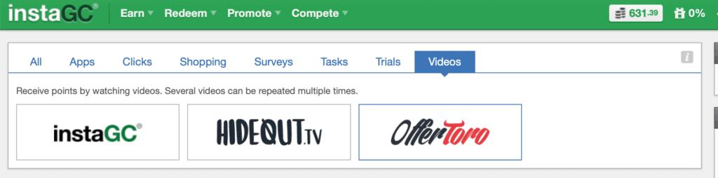 InstaGC video options - InstaGC, Hideout TV and OfferToro
