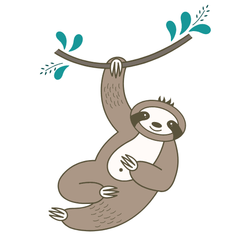 cartoon sloth hanging from branch