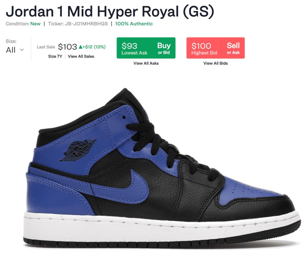Jordan 1 Mid Hyper Royal (GS) Sneakers showing last sale at $103