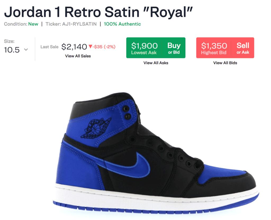 Jordan 1 Retro Satin 'Royal' sneakers showing last sale price as $2140