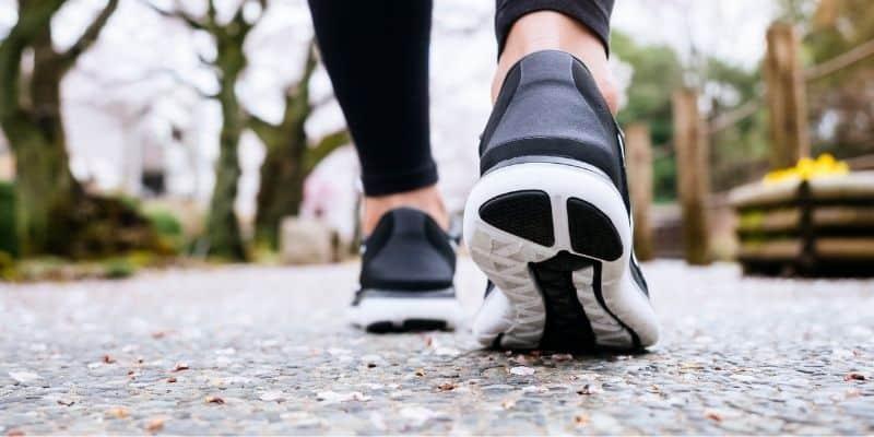 feet walking in trainers