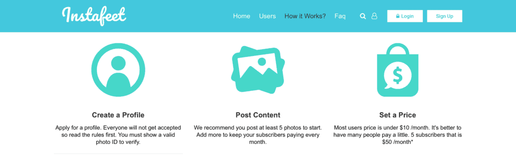 Screenshow showing instructions - Create a profile, Post content and set a price