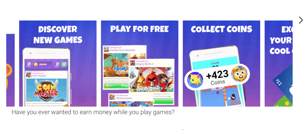 Coinpop screenshots from google play saying 'Discover new games, play for free and collect coins.